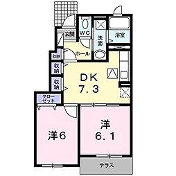 兵庫県高砂市北浜町北脇の賃貸アパートの間取り