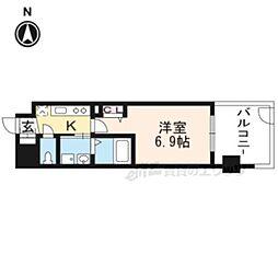 京都地下鉄東西線 太秦天神川駅 徒歩6分の賃貸マンション 1階1Kの間取り