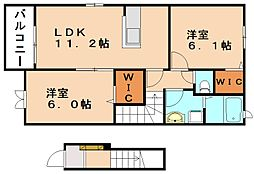 福岡県飯塚市綱分の賃貸アパートの間取り