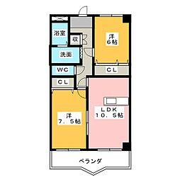 ベルボナール[3階]の間取り