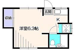 サンハイツ野寺[1階]の間取り