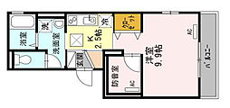 JR東海道・山陽本線 さくら夙川駅 徒歩13分の賃貸マンション 1階1Kの間取り