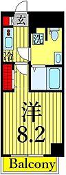 東京メトロ日比谷線 三ノ輪駅 徒歩2分の賃貸マンション 4階1Kの間取り