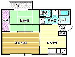 第1コーポ平野[1階]の間取り