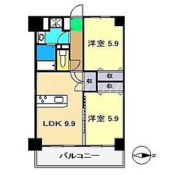 山中ハイツIII[3階]の間取り