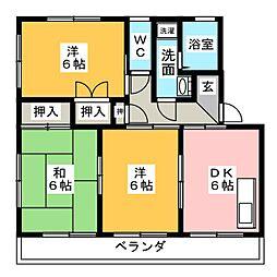 カラントサンクA棟[2階]の間取り