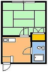 ハイツミヤマ第2[203号室]の間取り