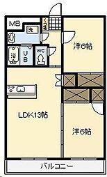 ピーチフローレ3[401号室]の間取り