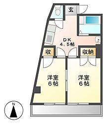 江口マンション四女子[3階]の間取り