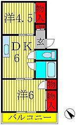 ヤマサイコーポ[2階]の間取り