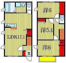 [テラスハウス] 千葉県船橋市滝台2丁目 の賃貸【/】の間取り