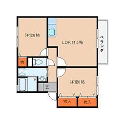 奈良県桜井市桜井の賃貸アパートの間取り