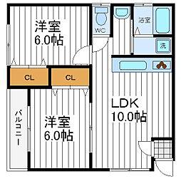 大阪府大阪市阿倍野区共立通1丁目の賃貸アパートの間取り