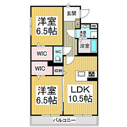 JR篠ノ井線 広丘駅 徒歩21分の賃貸マンション 2階2LDKの間取り