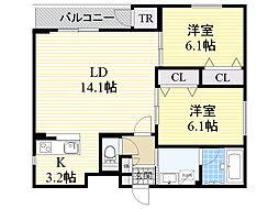 KDMハイツ 3階ワンルームの間取り