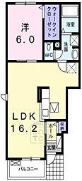カーサ ルーチェ 1階1LDKの間取り