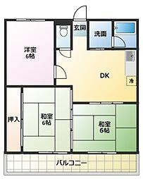 マンション柳[2階]の間取り
