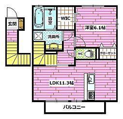 広島県広島市安佐南区緑井8丁目の賃貸アパートの間取り