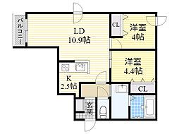 札幌市電2系統 石山通駅 徒歩4分の賃貸マンション 4階2LDKの間取り