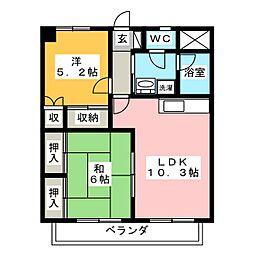 岡山県岡山市北区下伊福2丁目の賃貸マンションの間取り