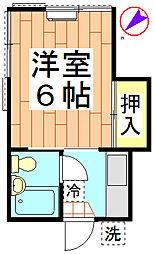 川名コーポ[102号室]の間取り