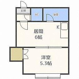 北海道札幌市東区北三十六条東15丁目の賃貸アパートの間取り