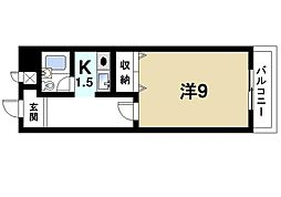 奈良県生駒市東菜畑2丁目の賃貸マンションの間取り