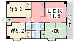 兵庫県姫路市北条永良町の賃貸マンションの間取り