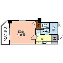 熊本県熊本市中央区九品寺5丁目の賃貸マンションの間取り
