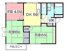 東京都東村山市秋津町3丁目の賃貸アパートの間取り