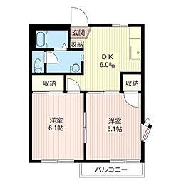 グリ−ンハウスハシモトA[2階]の間取り