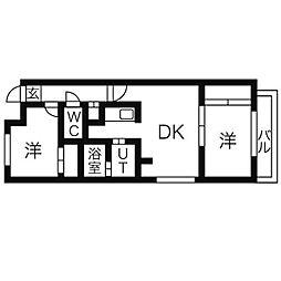 カサヴェルデ幌平橋[202号室]の間取り