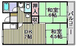 佐野湊団地[402号室]の間取り