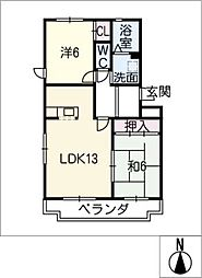 ワイズコート[4階]の間取り