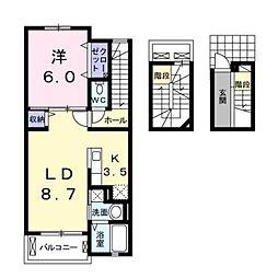 熊本市電A系統 健軍町駅 バス8分 古閑入口下車 徒歩2分の賃貸アパート 3階1LDKの間取り