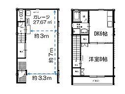 パルテノス(ガレージハウス) A棟 2階1DKの間取り
