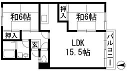 清風ハイツ[1階]の間取り