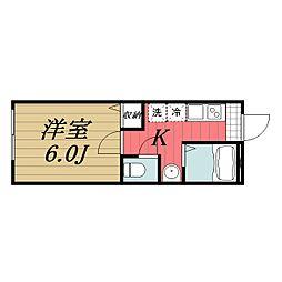 Apartment Narita I 1階1Kの間取り