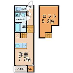 愛知県名古屋市東区百人町の賃貸アパートの間取り