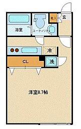 京王井の頭線 神泉駅 徒歩8分の賃貸マンション 2階ワンルームの間取り