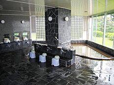温泉大浴場:天井が高く開放感のある大浴場。春には桜の木が綺麗に見えます。