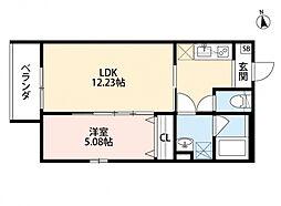 大阪府堺市堺区桜之町西1丁の賃貸アパートの間取り