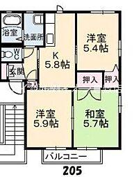 岡山県倉敷市福田町浦田丁目なしの賃貸アパートの間取り