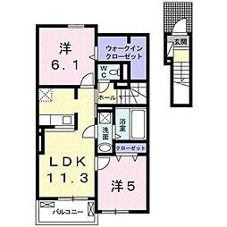 JR久大本線 筑後吉井駅 徒歩20分の賃貸アパート 2階2LDKの間取り