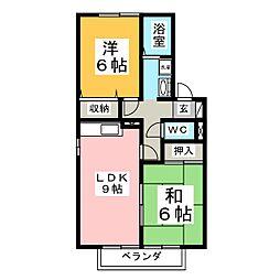 ディアコート加茂B[1階]の間取り