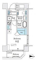 リビオメゾン両国イースト 8階ワンルームの間取り