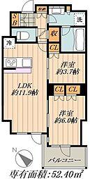 都営大江戸線 勝どき駅 徒歩3分の賃貸マンション 8階2LDKの間取り