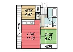 千葉県成田市中台3丁目の賃貸マンションの間取り