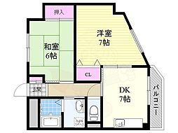 田中ビル 3階2DKの間取り