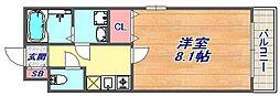 グランデ六甲道 4階1Kの間取り